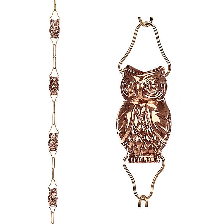 9 Cup Owl Pure Copper 8.5 Ft. Rain Chain By Good Directions