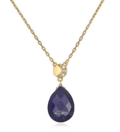 Lapis & White Topaz Gold Moon Drop Necklace 16-inch