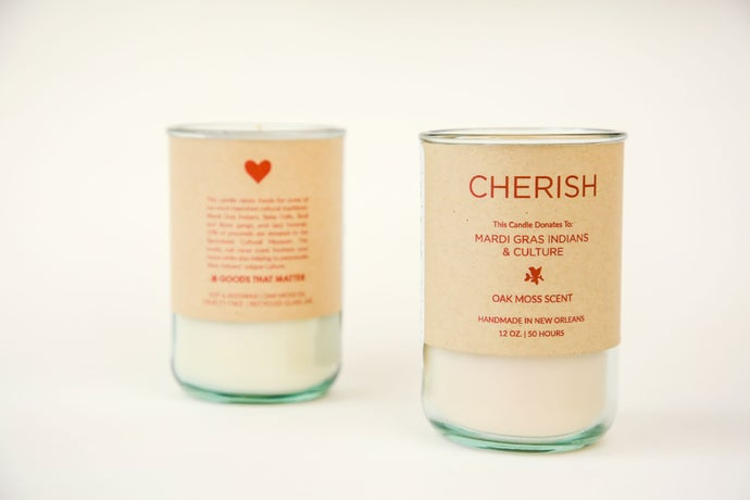 Cherish - Oak Moss Scent Candle, Gives To Mardi Gras Indians & Culture