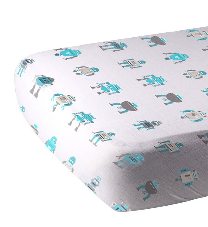 Cotton Muslin Crib Sheet - Machines