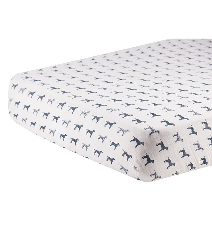 Cotton Muslin Crib Sheet - Animals