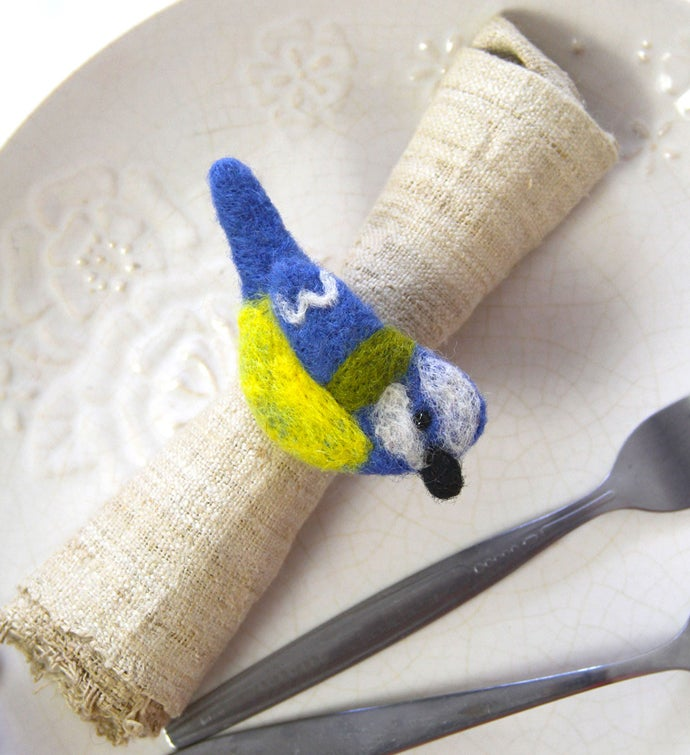Handmade Felted Wool Bird Napkin Rings, Set Of 4