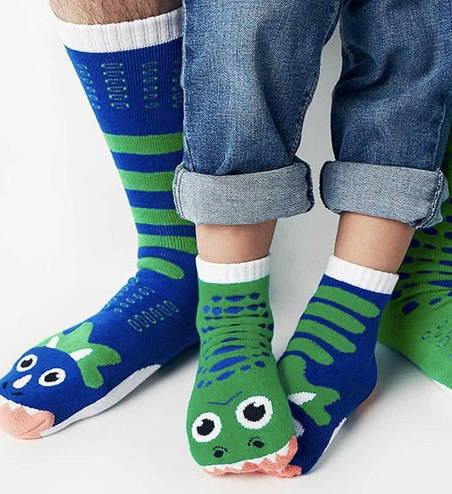 T-Rex & Triceratops | Adult + Kid (1-3) Socks
