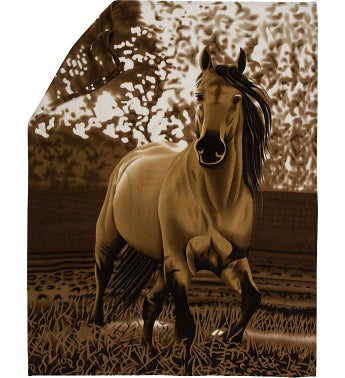 Western Horse Fleece Throw Blanket