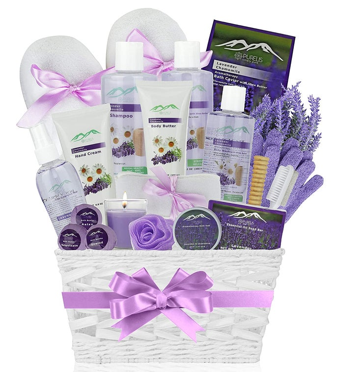 Lavender Chamomile Deluxe Bath  Body Gift Basket