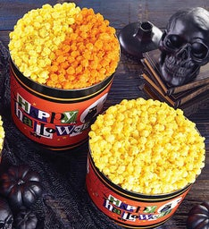 Happy Halloween Pick a Flavor 2 Gallon Popcorn Tins