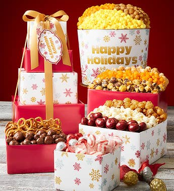 4-Tier Sparkling Snowflakes Happy Holidays Tower  Popcorn Tin