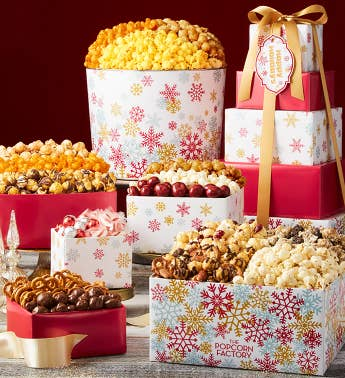 5-Tier Sparkling Snowflakes Happy Holidays Tower  Popcorn Tin
