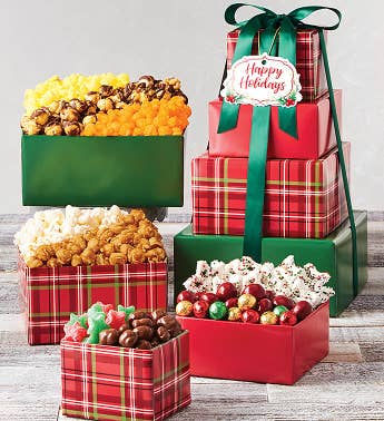 4-Tier Holly Plaid Tower