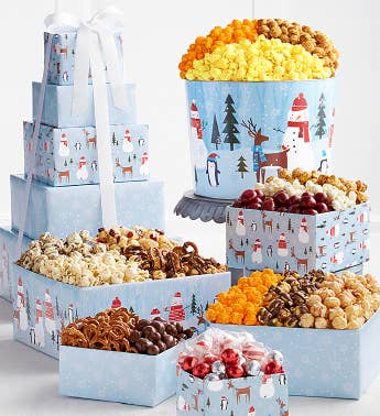 5-Tier Snow Day Tower  Popcorn Tin