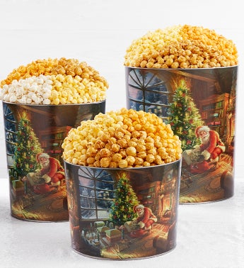Thomas Kinkade With Santa Popcorn Tins