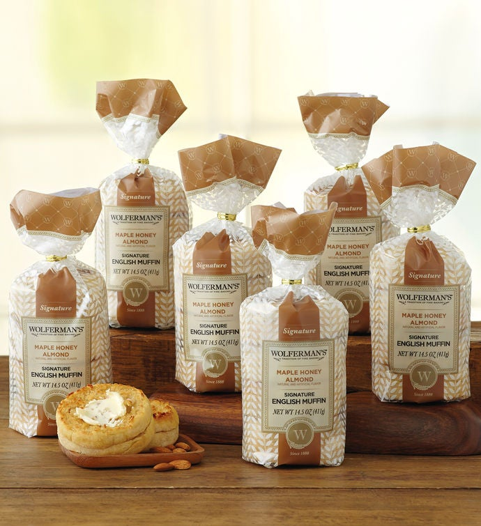 Maple AlmondFlavored SuperThick English Muffins   Packages