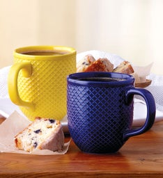 Blue and Yellow DiamondTextured Mug Duo