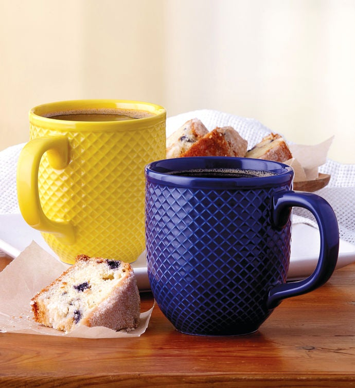Blue and Yellow DiamondTextured Mug Duo