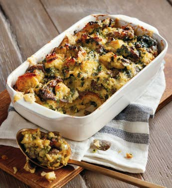 Spinach Mushroom and Bacon Strata