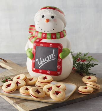Snowman Cookie Jar with Cookies