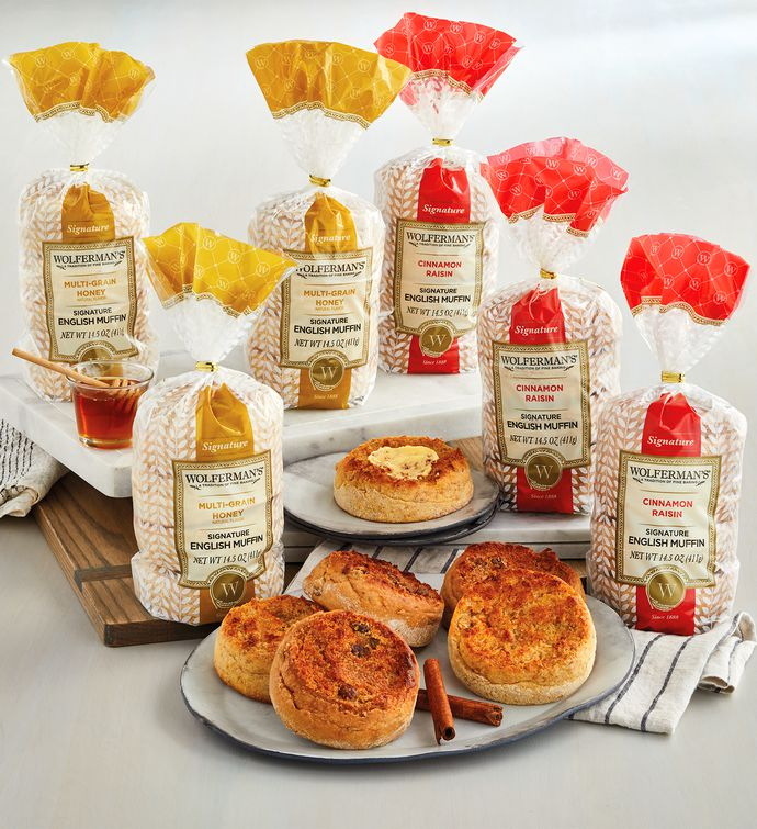 Cinnamon Raisin and Honey Wheat SuperThick English Muffins   Packages